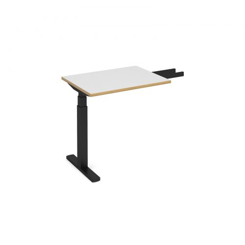 Elev8 Touch sit-stand return desk 600mm x 800mm - black frame, white top with oak edge