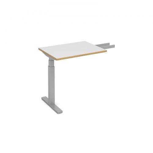 Elev8 Touch sit-stand return desk 600mm x 800mm - silver frame and white top with oak edge