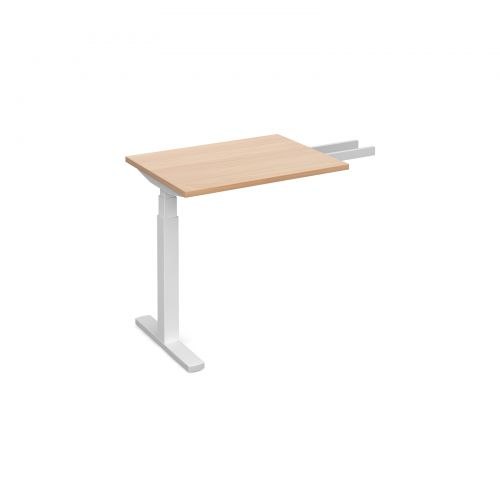 Elev8 Touch sit-stand return desk 600mm x 800mm - white frame and beech top