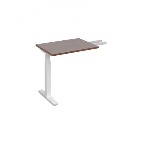 Elev8 Touch sit-stand return desk 600mm x 800mm - white frame, walnut top