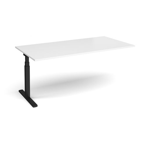 Elev8 Touch boardroom table add on unit 2000mm x 1000mm - black frame and white top