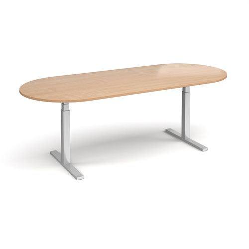 Elev8 Touch radial end boardroom table 2400mm x 1000mm - silver frame and beech top