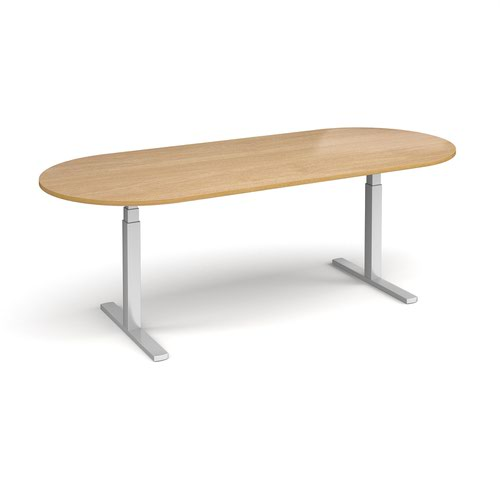 Elev8 Touch radial end boardroom table 2400mm x 1000mm - silver frame and oak top