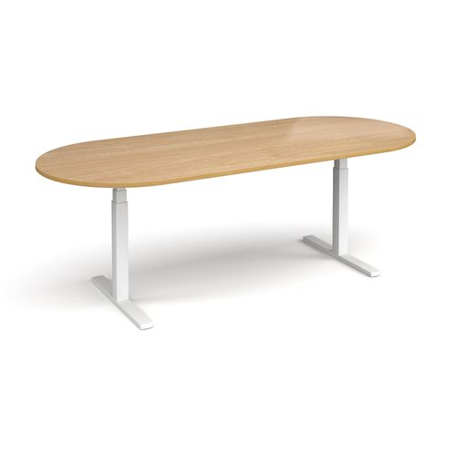 Elev8 Touch radial end boardroom table 2400mm x 1000mm - white frame and oak top