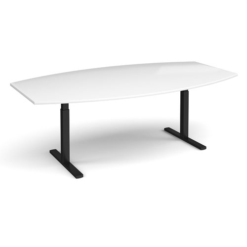 Elev8 Touch radial boardroom table 2400mm x 800/1300mm - black frame and white top