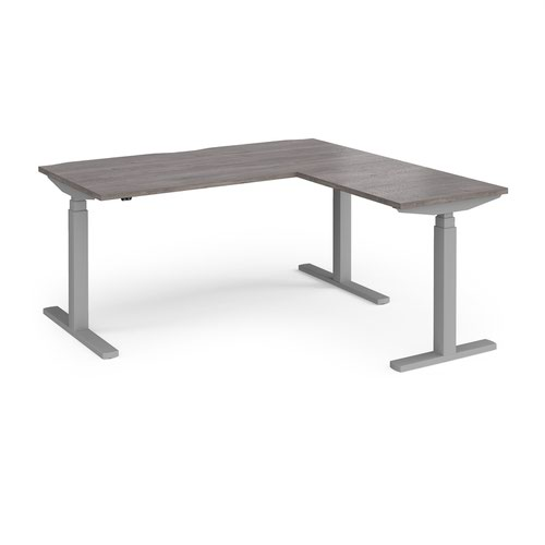 Elev8 Touch sit-stand desk 1600mm x 800mm with 800mm return desk - silver frame and grey oak top