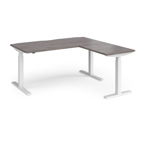 Elev8 Touch sit-stand desk 1600mm x 800mm with 800mm return desk - white frame and grey oak top
