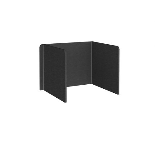 Free-standing 3-sided 700mm high fabric desktop screen 1000mm wide - charcoal
