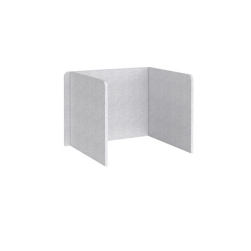 Free-standing 3-sided 700mm high fabric desktop screen 1000mm wide - glass grey