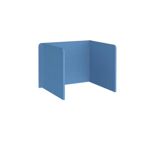 Free-standing 3-sided 700mm high fabric desktop screen 1000mm wide - inverness blue