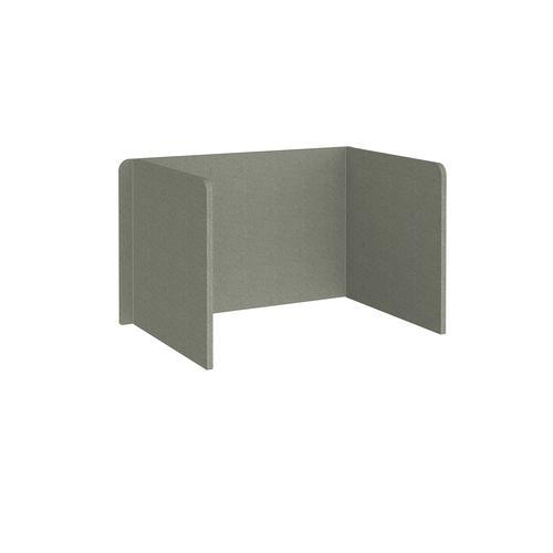 Free-standing 3-sided 700mm high fabric desktop screen 1200mm wide - hillswick grey