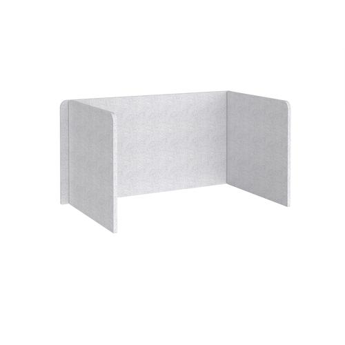 Free-standing 3-sided 700mm high fabric desktop screen 1400mm wide - glass grey