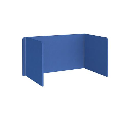 Free-standing 3-sided 700mm high fabric desktop screen 1400mm wide - galilee blue