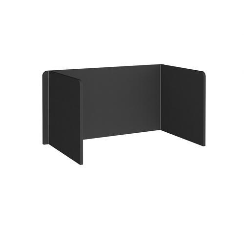 Free-standing 3-sided 700mm high fabric desktop screen 1400mm wide - black