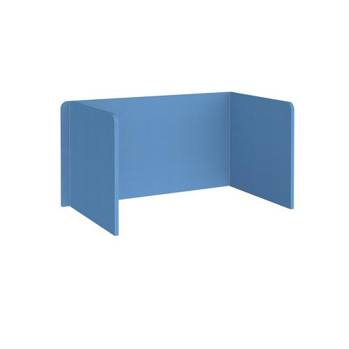 Free-standing 3-sided 700mm high fabric desktop screen 1400mm wide - inverness blue