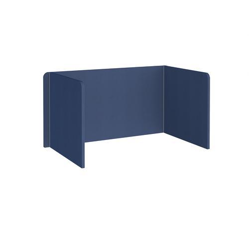 Free-standing 3-sided 700mm high fabric desktop screen 1400mm wide - cluanie blue
