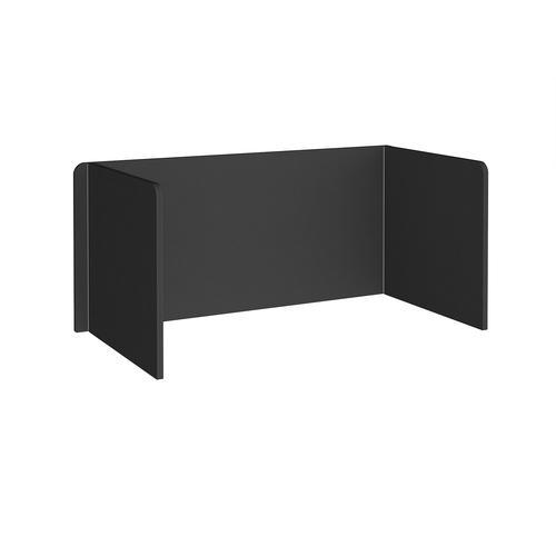 Free-standing 3-sided 700mm high fabric desktop screen 1600mm wide - black