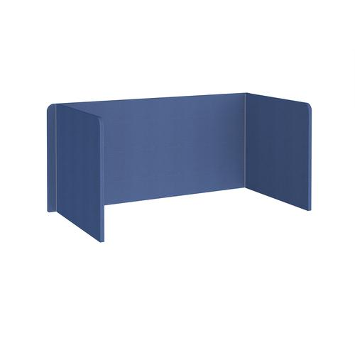 Free-standing 3-sided 700mm high fabric desktop screen 1600mm wide - adriatic blue