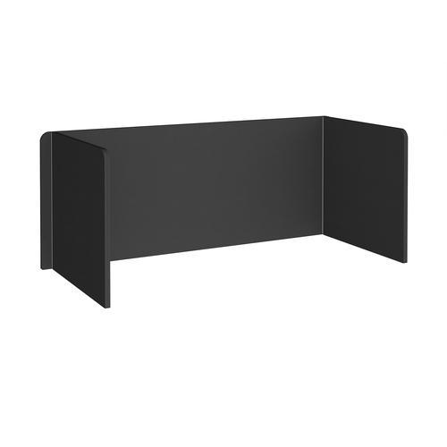 Free-standing 3-sided 700mm high fabric desktop screen 1800mm wide - black