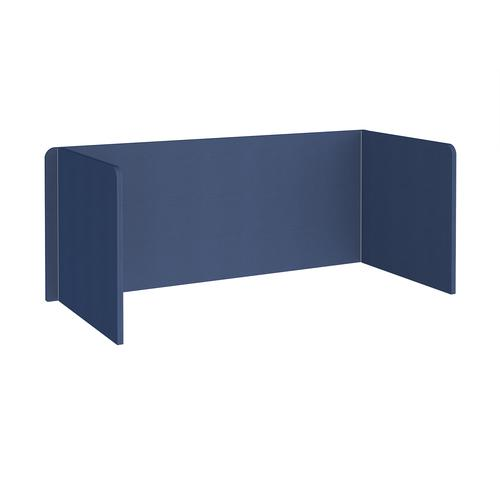 Free-standing 3-sided 700mm high fabric desktop screen 1800mm wide - cluanie blue