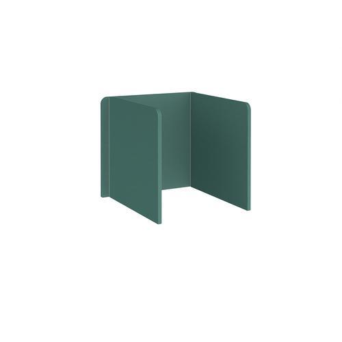 Free-standing 3-sided 700mm high fabric desktop screen 800mm wide - carron green