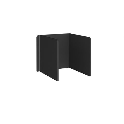 Free-standing 3-sided 700mm high fabric desktop screen 800mm wide - black