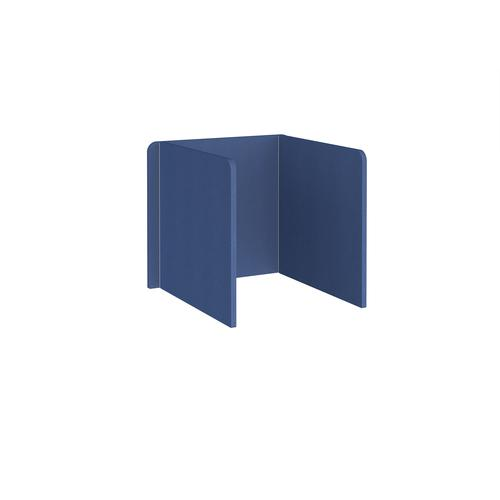 Free-standing 3-sided 700mm high fabric desktop screen 800mm wide - adriatic blue