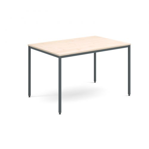 Rectangular Flexi 1200mm Table Graphite Frame Depth 800mm 18mm Thick Top Maple
