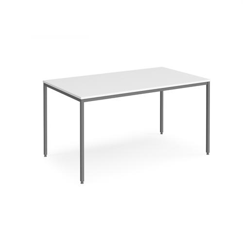 Rectangular flexi table with graphite frame 1400mm x 800mm - white