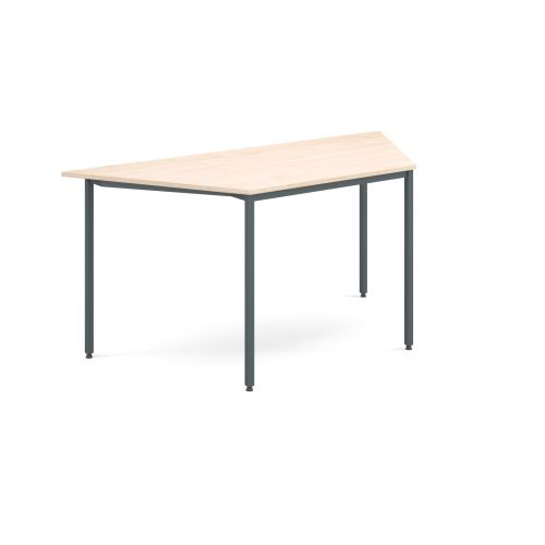 1600mm Trapezoidal Flexi Table Graphite Frame Depth 694mm 18mm Thick Top Maple