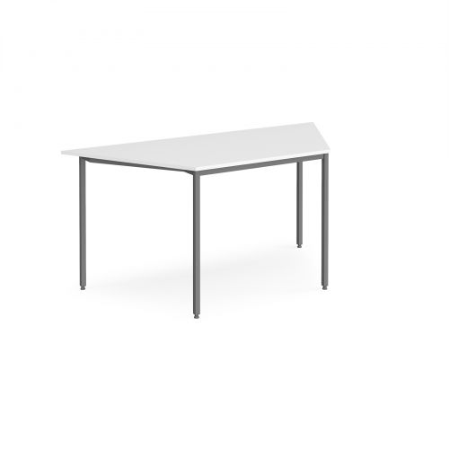 Trapezoidal flexi table with graphite frame 1600mm x 800mm - white