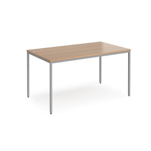 Image for Rectangular flexi table with silver frame 1400mm x 800mm - beech