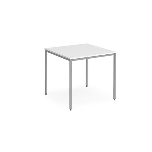 Rectangular flexi table with silver frame 800mm x 800mm - white