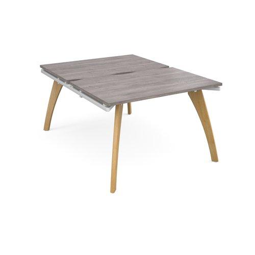 Fuze back to back desks 1200mm x 1600mm - white frame and grey oak top