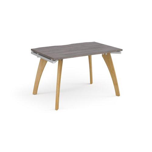 Fuze single desk 1200mm x 800mm - white frame and grey oak top