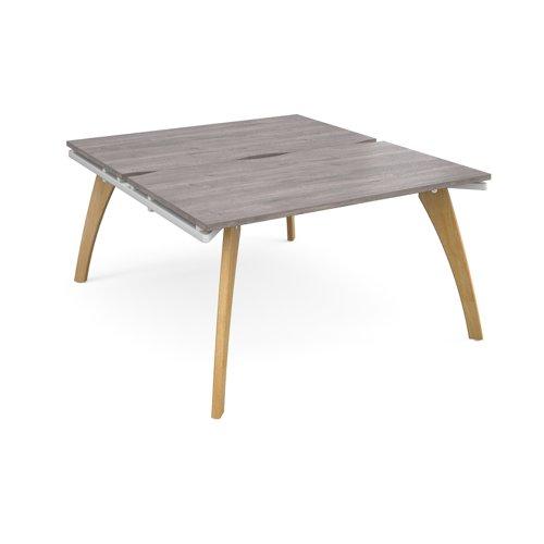 Fuze back to back desks 1400mm x 1600mm - white frame and grey oak top