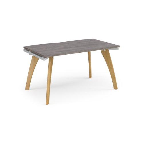 Fuze single desk 1400mm x 800mm - white frame and grey oak top