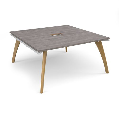 Fuze square boardroom table 1600mm x 1600mm with central cutout 272mm x 132mm - white frame and grey oak top