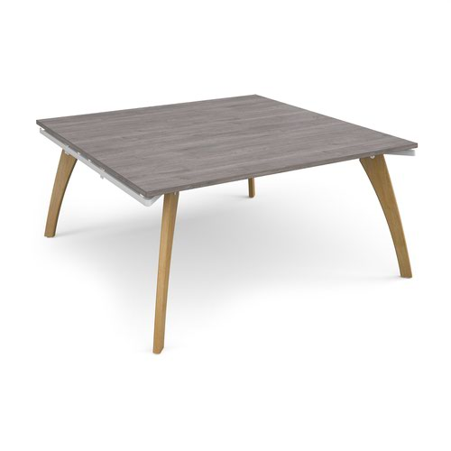 Fuze boardroom table starter unit 1600mm x 1600mm - white frame and grey oak top