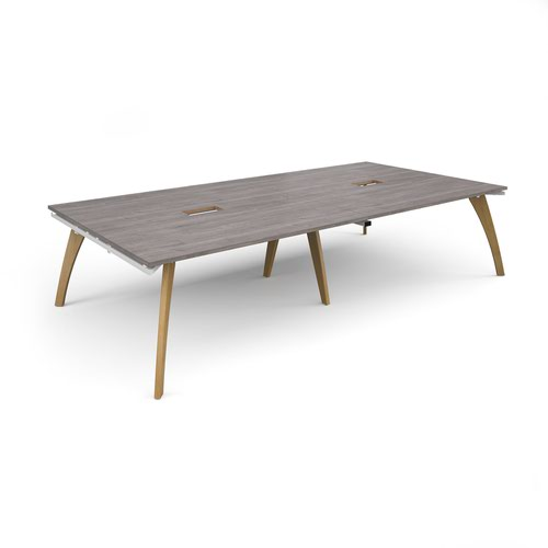 Fuze rectangular boardroom table 3200mm x 1600mm with 2 cutouts 272mm x 132mm - white frame and grey oak top