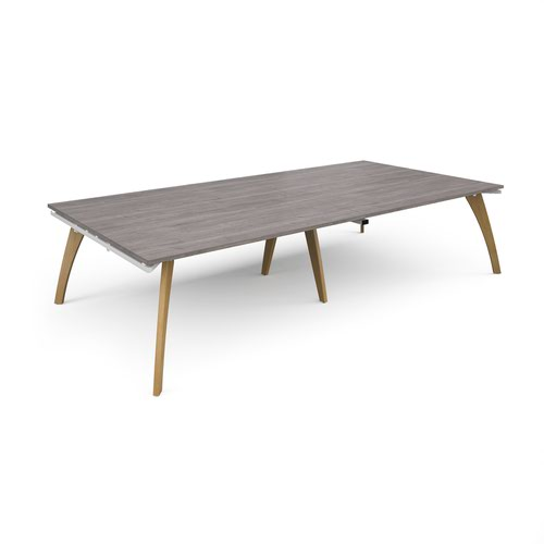 Fuze rectangular boardroom table 3200mm x 1600mm - white frame and grey oak top
