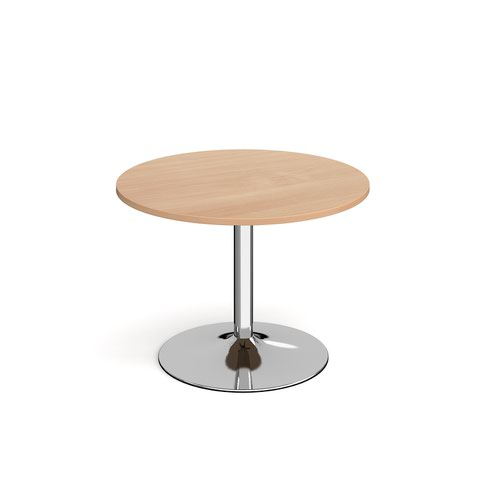 Image for Genoa circular dining table with chrome trumpet base 1000mm - beech