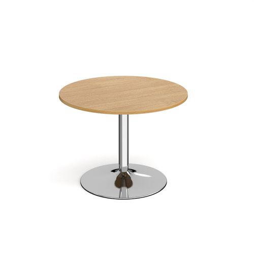 Image for Genoa circular dining table with chrome trumpet base 1000mm - oak