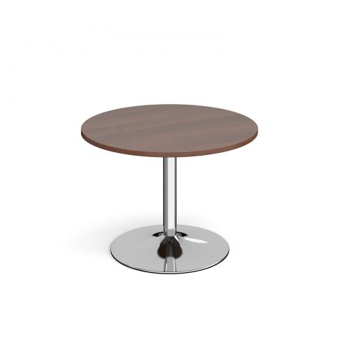 Image for Genoa circular dining table with chrome trumpet base 1000mm - walnut