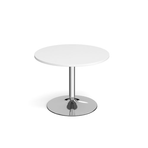 Image for Genoa circular dining table with chrome trumpet base 1000mm - white