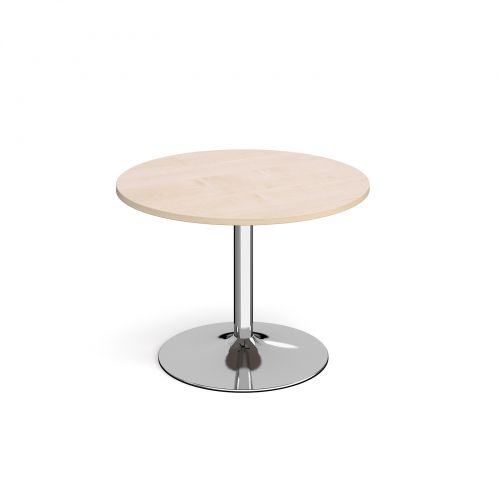 Image for Genoa circular dining table with chrome trumpet base 1000mm - maple