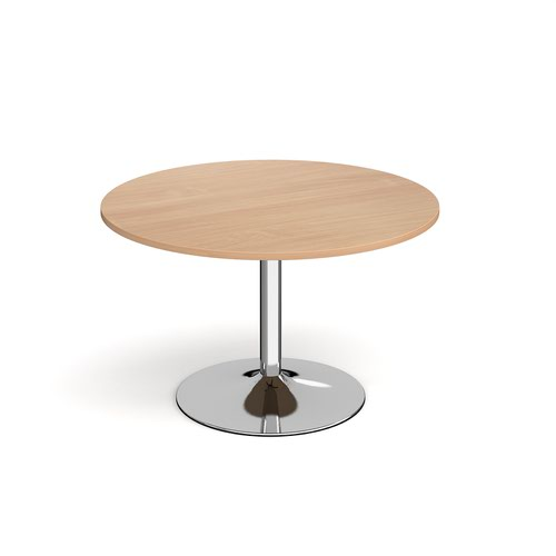 Image for Genoa circular dining table with chrome trumpet base 1200mm - beech
