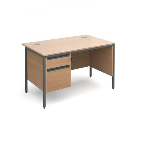 Maestro H-Frame straight desk with 2 drawer pedestal and side panel 1228mm - beech