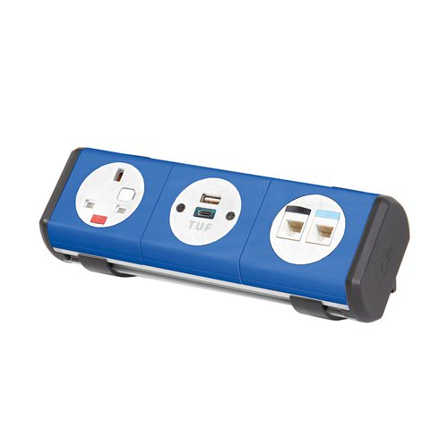 Hubble clip-on power module 1 x UK socket plus 1 x TUF (A&C connectors) USB charger plus 2 x RJ45 sockets - yellow