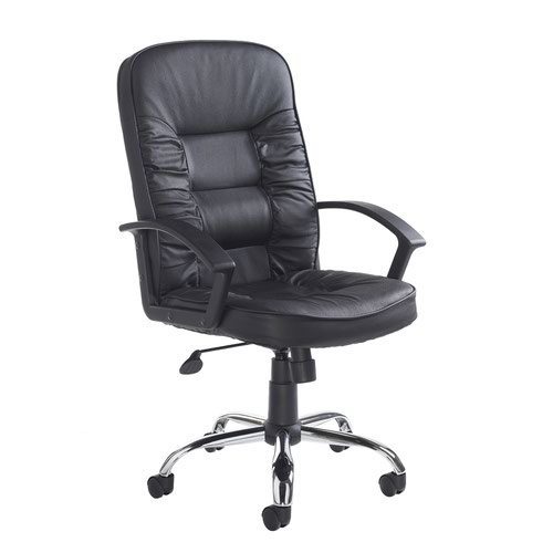 Hertford high back managers chair - black leather faced
